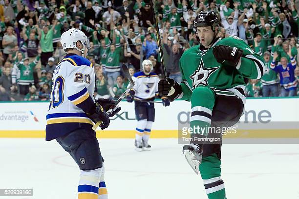 Jamie Benn of the Dallas Stars celebrates after scoring against the St Louis Blues in the third period in Game Two of the Western Conference Second...