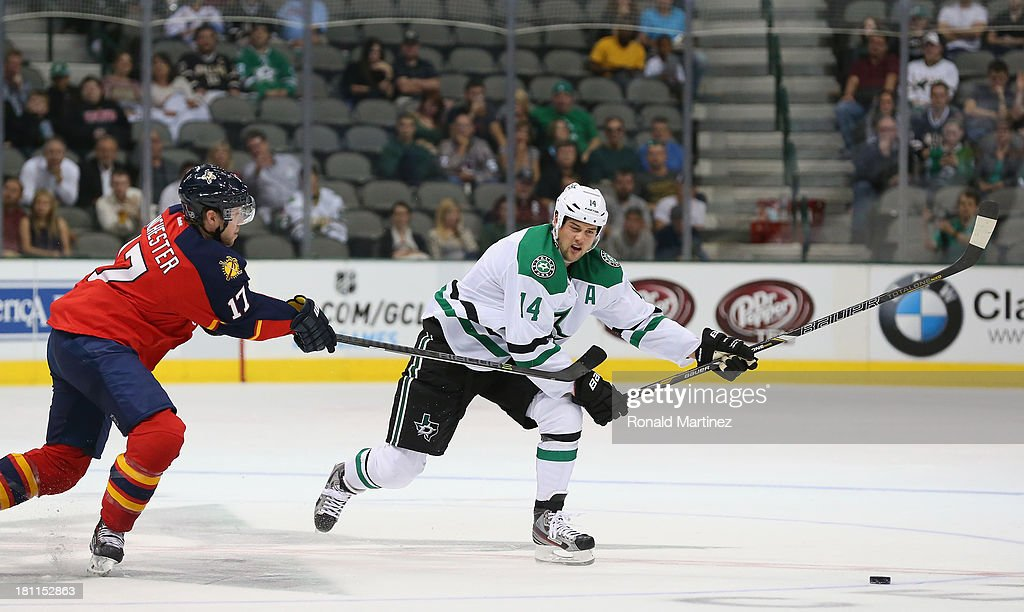 <a gi-track='captionPersonalityLinkClicked' href=/galleries/search?phrase=Jamie+Benn&family=editorial&specificpeople=4595070 ng-click='$event.stopPropagation()'>Jamie Benn</a> #14 of the Dallas Stars during a preseason game at American Airlines Center on September 18, 2013 in Dallas, Texas.