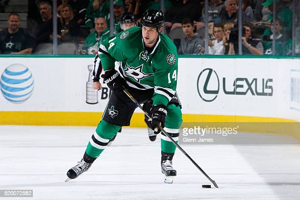 Jamie Benn of the Dallas Stars handles the puck against the Nashville Predators at the American Airlines Center on April 9 2016 in Dallas Texas