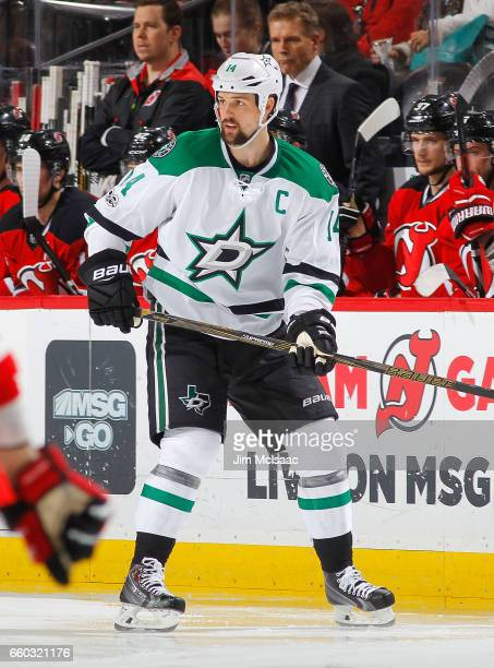 Jamie Benn of the Dallas Stars in action against the New Jersey Devils on March 26 2017 at Prudential Center in Newark New Jersey The Stars defeated...