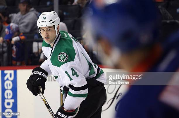 Jamie Benn of the Dallas Stars skates against the New York Islanders at the Barclays Center on January 3 2016 in the Brooklyn borough of New York...