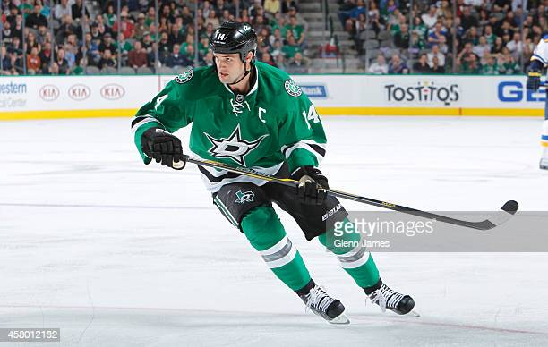 Jamie Benn of the Dallas Stars skates against the St Louis Blues at the American Airlines Center on October 28 2014 in Dallas Texas