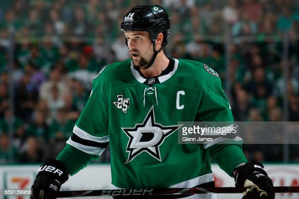 Jamie Benn of the Dallas Stars skates against the Vegas Golden Knights at the American Airlines Center on October 6 2017 in Dallas Texas