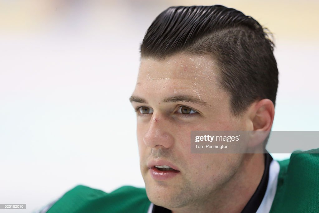 <a gi-track='captionPersonalityLinkClicked' href=/galleries/search?phrase=Jamie+Benn&family=editorial&specificpeople=4595070 ng-click='$event.stopPropagation()'>Jamie Benn</a> #14 of the Dallas Stars stretches during pregame warm up before the Stars take on the St. Louis Blues in Game One of the Western Conference Second Round during the 2016 NHL Stanley Cup Playoffs at American Airlines Center on April 29, 2016 in Dallas, Texas.