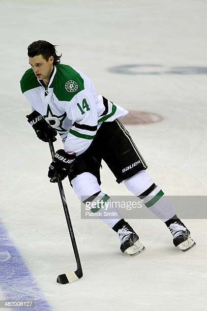 Jamie Benn of the Dallas Stars warms up before playing the Washington Capitals during an NHL game at Verizon Center on April 1 2014 in Washington DC...