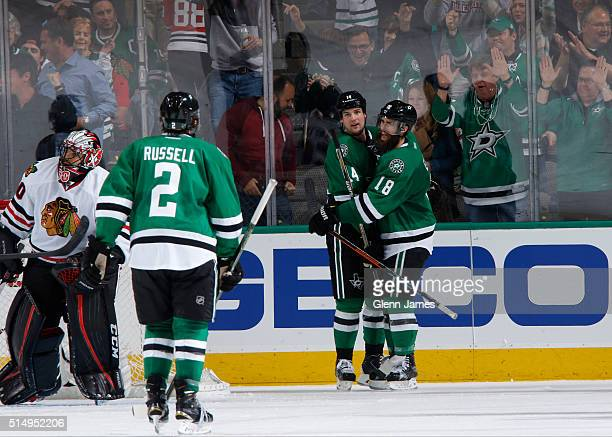 Jamie Benn Patrick Eaves Kris Russell and the Dallas Stars celebrate a goal against the Chicago Blackhawks at the American Airlines Center on March...