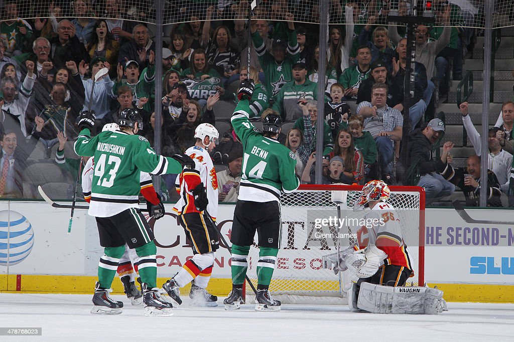 <a gi-track='captionPersonalityLinkClicked' href=/galleries/search?phrase=Jamie+Benn&family=editorial&specificpeople=4595070 ng-click='$event.stopPropagation()'>Jamie Benn</a> #14, <a gi-track='captionPersonalityLinkClicked' href=/galleries/search?phrase=Valeri+Nichushkin&family=editorial&specificpeople=8615473 ng-click='$event.stopPropagation()'>Valeri Nichushkin</a> #43 and the Dallas Stars celebrate a goal against <a gi-track='captionPersonalityLinkClicked' href=/galleries/search?phrase=Joey+MacDonald&family=editorial&specificpeople=2234367 ng-click='$event.stopPropagation()'>Joey MacDonald</a> #35 of the Calgary Flames at the American Airlines Center on March 14, 2014 in Dallas, Texas.