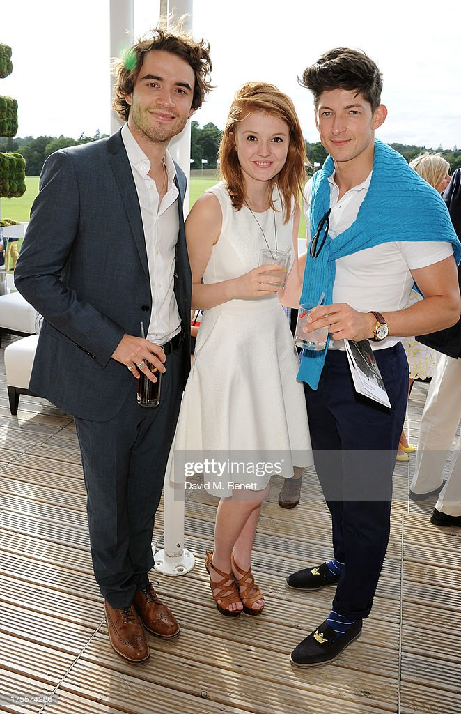 Jamie Blackley (L) and guests attend day 2 of the Audi Polo Challenge at Coworth Park Polo Club on August 4, 2013 in Ascot, England.