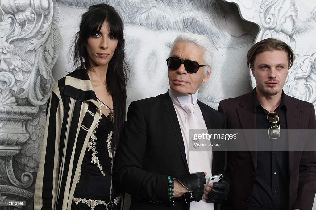 Jamie Bochert, Karl Lagerfeld and <a gi-track='captionPersonalityLinkClicked' href=/galleries/search?phrase=Michael+Pitt&family=editorial&specificpeople=207164 ng-click='$event.stopPropagation()'>Michael Pitt</a> attend the Chanel Haute-Couture Show as part of Paris Fashion Week Fall / Winter 2013 at Grand Palais on July 3, 2012 in Paris, France.