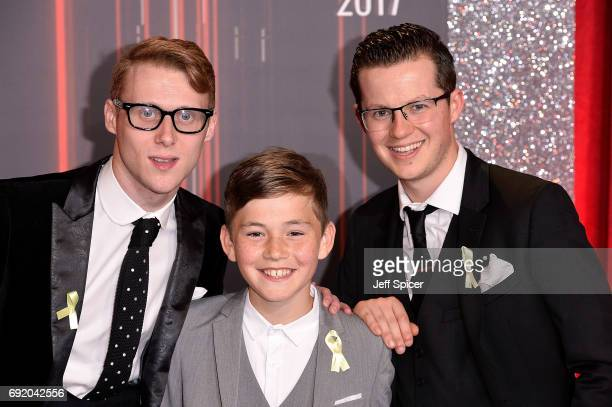 Jamie Borthwick Bleu Landau and Harry Reid attend The British Soap Awards at The Lowry Theatre on June 3 2017 in Manchester England The Soap Awards...
