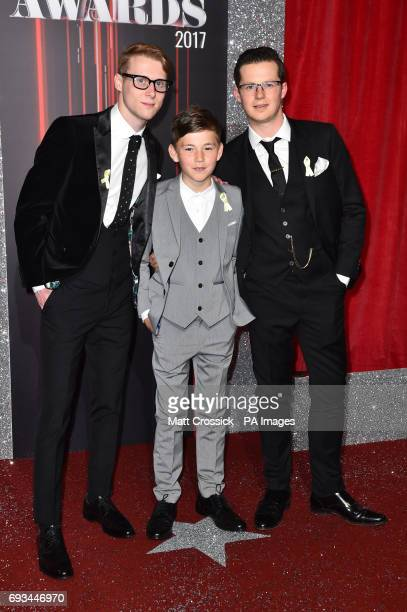 Jamie Borthwick Bleu Landau and Harry Reid attending the British Soap Awards 2017 at The Lowry Salford Manchester PRESS ASSOCIATION Photo Picture...