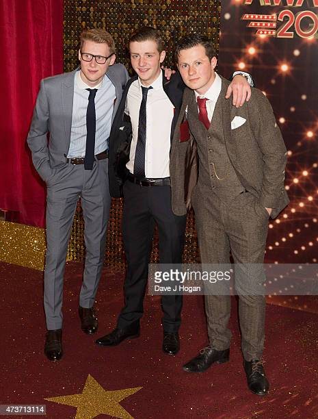 Jamie Borthwick James Forde and Harry Reid attend the British Soap Awards at Manchester Palace Theatre on May 16 2015 in Manchester England