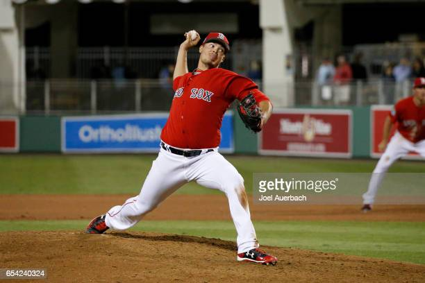 Jamie Callahan of the Boston Red Sox throws the ball against the Pittsburgh Pirates in the ninth inning during a spring training game at JetBlue Park...