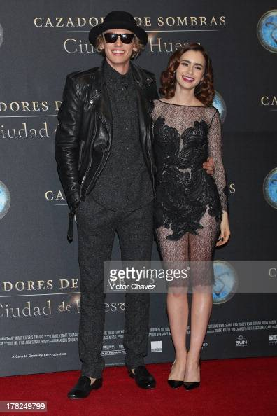 Jamie Campbell Bower and Lily Collins attend The Mortal Instruments City of Bones' Mexico City screening at Auditorio Nacional on August 27 2013 in...