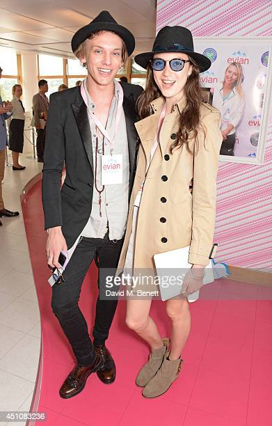 Jamie Campbell Bower and Matilda Lowther attend the evian Live Young suite on the opening day of Wimbledon at the All England Lawn Tennis and Croquet...