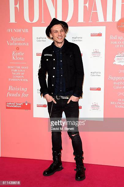 Jamie Campbell Bower at The Naked Heart Foundation's Fabulous Fund Fair in London at Old Billingsgate Market on February 20 2016 in London England