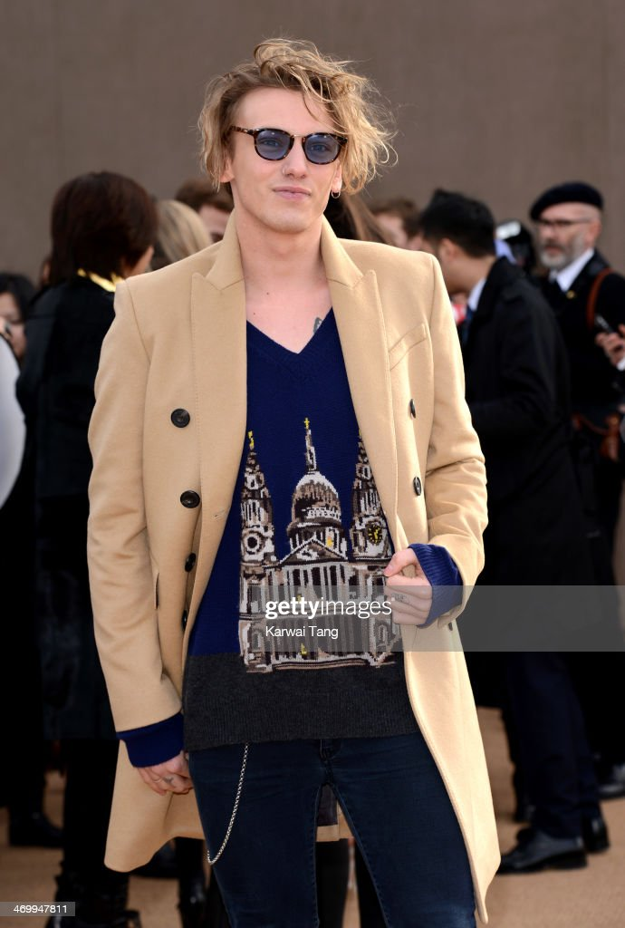 Jamie Campbell Bower attends the Burberry Prorsum show at London Fashion Week AW14 at Kensington Gardens on February 17, 2014 in London, England.
