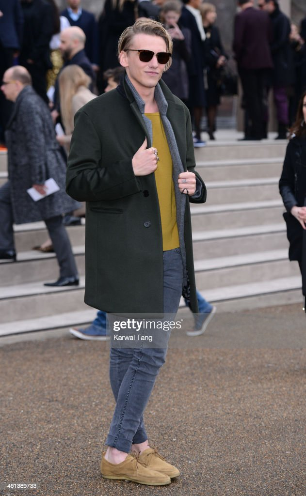 <a gi-track='captionPersonalityLinkClicked' href=/galleries/search?phrase=Jamie+Campbell+Bower&family=editorial&specificpeople=4586724 ng-click='$event.stopPropagation()'>Jamie Campbell Bower</a> attends the Burberry Prorsum show during The London Collections: Men Autumn/Winter 2014 held at Kensington Gardens on January 8, 2014 in London, England.
