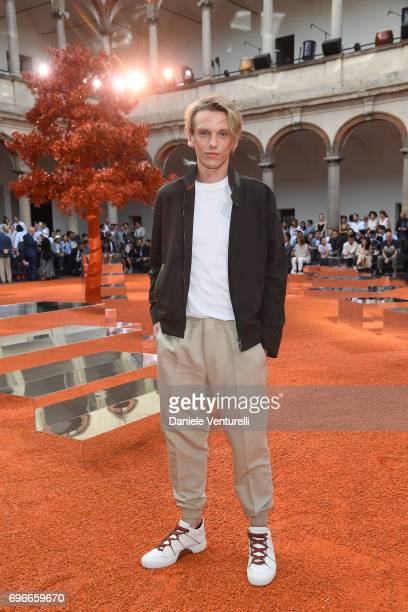 Jamie Campbell Bower attends the Ermenegildo Zegna show during Milan Men's Fashion Week Spring/Summer 2018 on June 16 2017 in Milan Italy