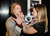 Jamie Campbell Bower gets his makeup done as he attends the W London Leicester Square World AIDS Day Fundraising Party at Wyld on December 1 2014 in...
