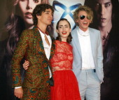 Jamie Campbell Bower Lily Collins and Robert Sheehan attend 'The Mortal Instruments City of Bones' premiere on August 22 2013 in Madrid Spain