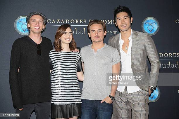 Jamie Campbell Bower Lily Collins Kevin Zegers and Godfrey Gao attend 'The Mortal Instruments City of Bones' Mexico City photocall at St Regis Hotel...