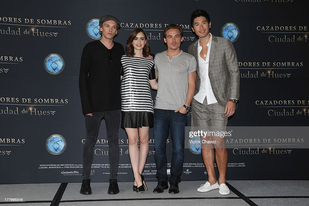 Jamie Campbell Bower, Lily Collins, Kevin Zegers and Godfrey Gao attend 'The Mortal Instruments: City of Bones' Mexico City photocall at St Regis Hotel on August 26, 2013 in Mexico City, Mexico.
