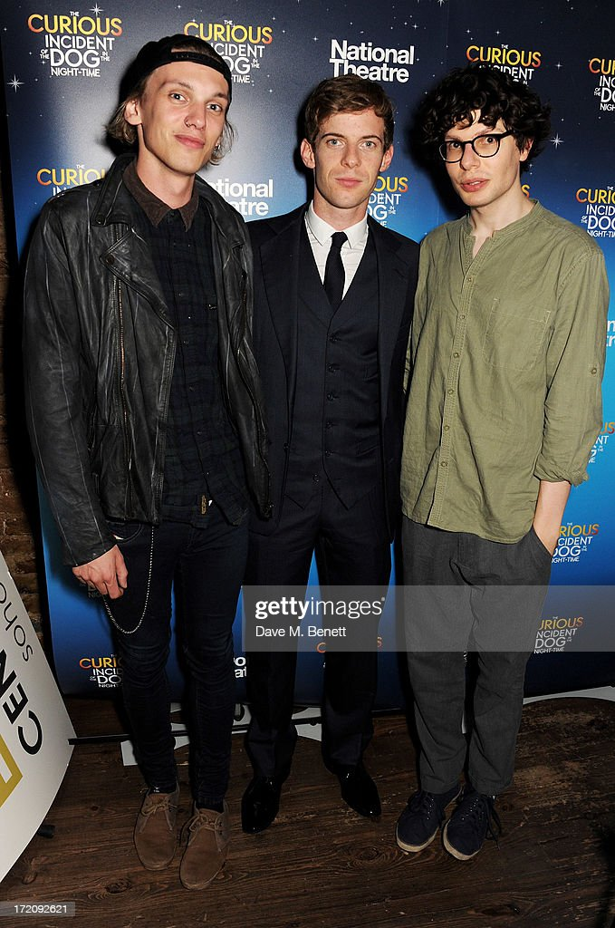 Jamie Campbell Bower, Luke Treadaway and Simon Amstell attend an after party following 'A Curious Night at the Theatre', a charity gala evening to raise funds for Ambitious about Autism and The National Autistic Society, at Century Club on July 1, 2013 in London, England.