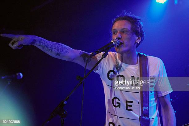 Jamie Campbell Bower of Counterfeit performs at Postbahnhof on January 9 2016 in Berlin Germany