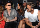 Jamie Campbell Bower Stephen Dorff and his new girlfriend attend Diesel Black Gold show during Milan Menswear Fashion Week Spring Summer 2014 on June...