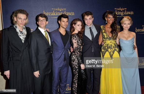 Jamie Campbell Bower Wyck Godfrey Taylor Lautner Kristen Stewart Robert Pattinson Judi Shekoni and MyAnna Buring attends the UK Premiere of 'The...