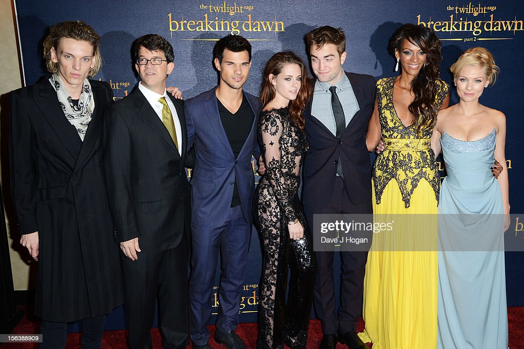 Jamie Campbell Bower, Wyck Godfrey, Taylor Lautner, Kristen Stewart, Robert Pattinson, Judi Shekoni and MyAnna Buring attend the UK Premiere of 'The Twilight Saga: Breaking Dawn - Part 2' at Odeon Leicester Square on November 14, 2012 in London, England.