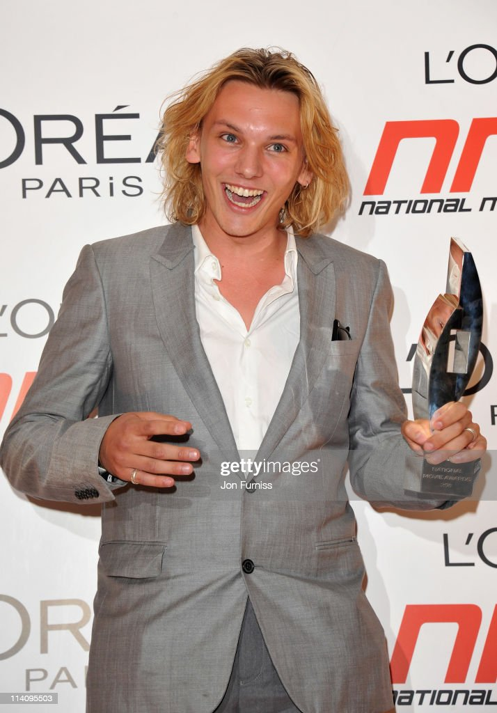 Jamie CampbellBower poses wth his 'one to watch' award in the press room at the L'Oreal National Movie Awards 2011 at Wembley Arena on May 11 2011 in...