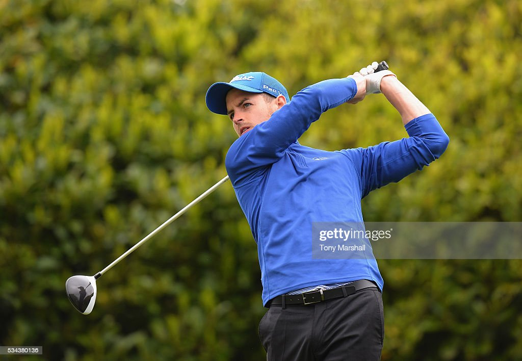 Jamie Carney of Robin Hood Golf Club plays his first shot on the 1st tee during the PGA Assistants Championships - Midlands Qualifier at the Coventry Golf Club on May 26, 2016 in Coventry, England.