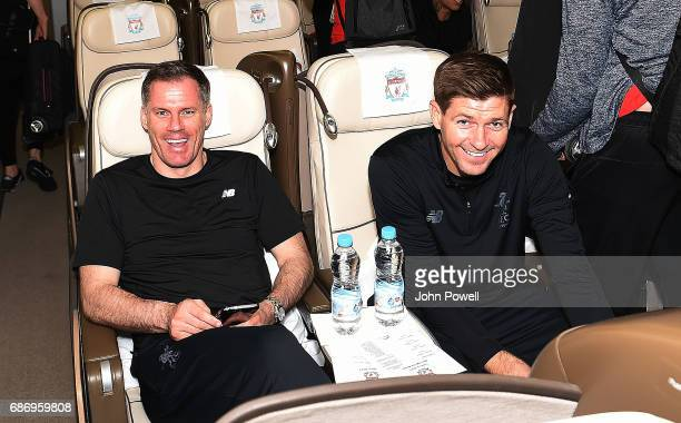 Jamie Carrager and Steven Gerrard ex players of Liverpool on the plane to Australia at Melwood Training Ground on May 22 2017 in Liverpool England