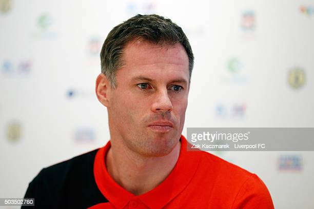 Jamie Carragher attends a press conference at the Park Hyatt on January 6 2016 in Sydney Australia