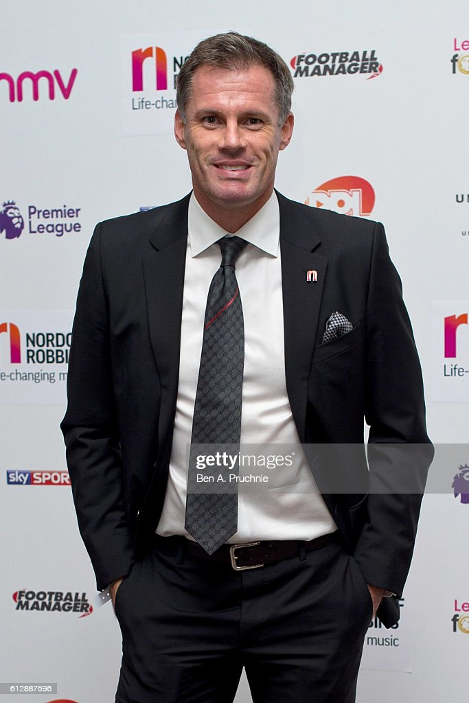 Jamie Carragher attends the 21st Legends of football event to celebrate 25 seasons of the Premier League and raise money for music therapy charity Nordoff Robbins at The Grosvenor House Hotel on October 5, 2016 in London, England.