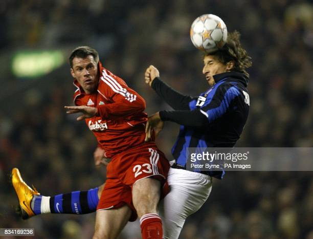 Jamie Carragher Liverpool and Zlatan Ibrahimovic Inter Milan battle for the ball