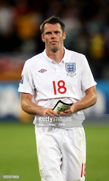 Jamie Carragher of England shows his dejection as he walks off the pitch after the 2010 FIFA World Cup South Africa Group C match between England and...