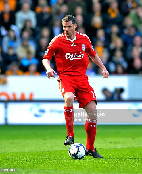 Jamie Carragher of Liverpool during the Barclays Premier League match between Hull City and Liverpool at KC Stadium on May 9 2010 in Hull England