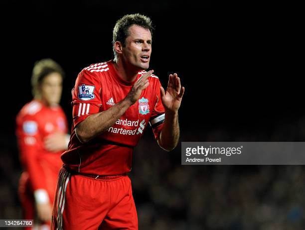 Jamie Carragher of Liverpool during the Carling Cup quarter final match between Chelsea and Liverpool at Stamford Bridge on November 29 2011 in...