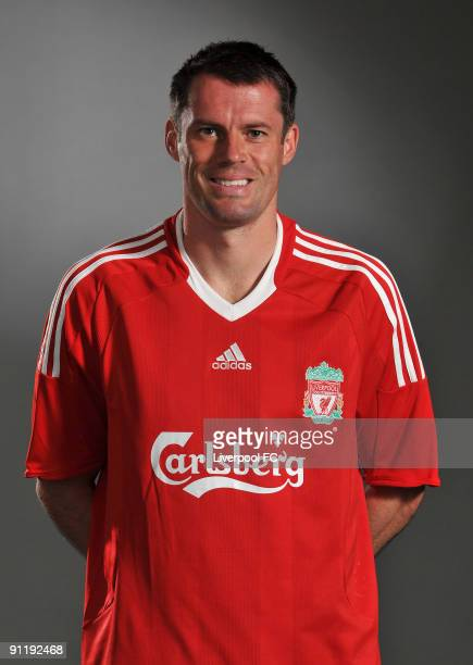 Jamie Carragher of Liverpool FC poses during a Liverpool FC 2009/2010 season photocall in Liverpool England