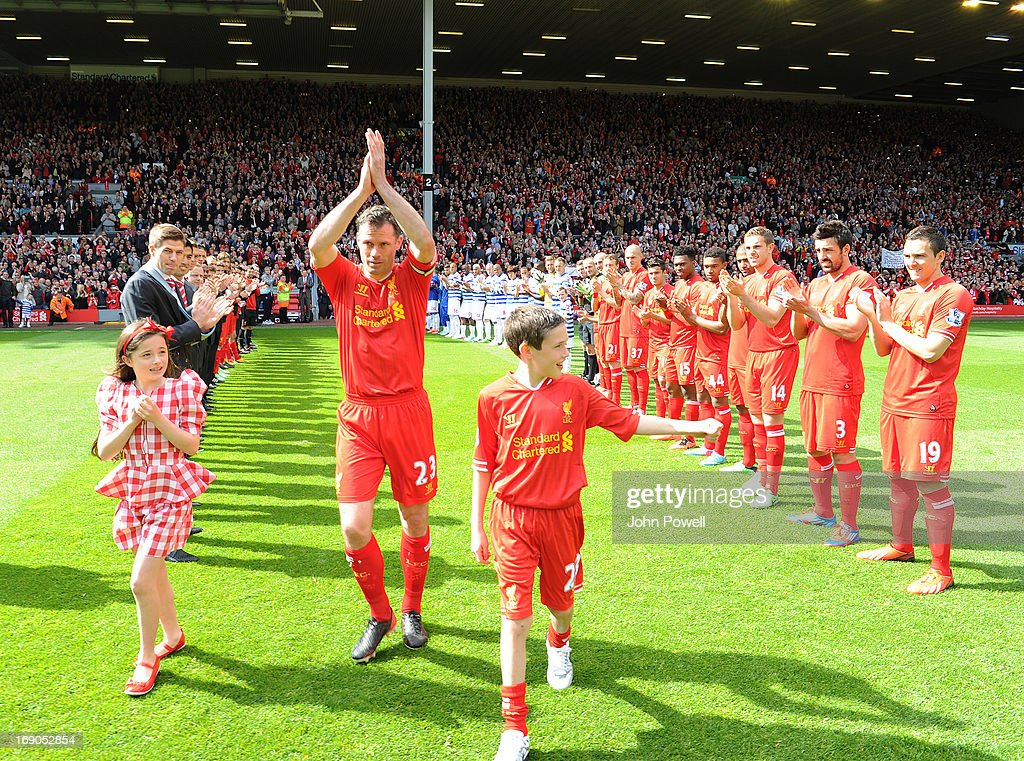 <a gi-track='captionPersonalityLinkClicked' href=/galleries/search?phrase=Jamie+Carragher&family=editorial&specificpeople=206485 ng-click='$event.stopPropagation()'>Jamie Carragher</a> of Liverpool is given a guard of honour on his last game for Liverpool FC the Barclays Premier League match between Liverpool and Queens Park Rangers at Anfield on May 19, 2013 in Liverpool England.