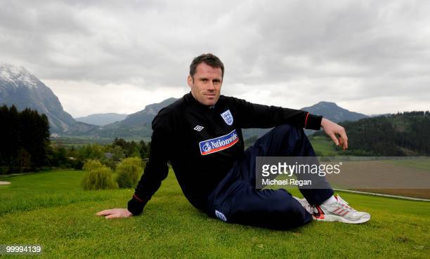 Jamie Carragher poses after an England training session on May 19 2010 in Irdning Austria