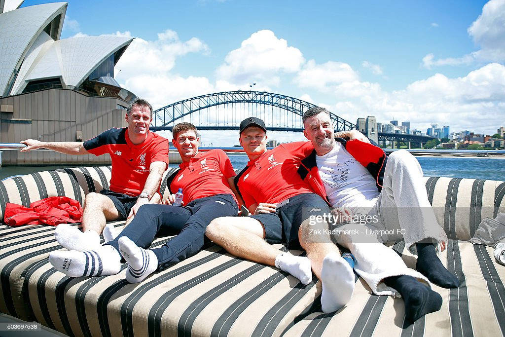 Jamie Carragher, Steven Gerrard, John Arne Riise and John Aldridge see the sights during a cruise through Sydney Harbour on January 7, 2016 in Sydney, Australia.