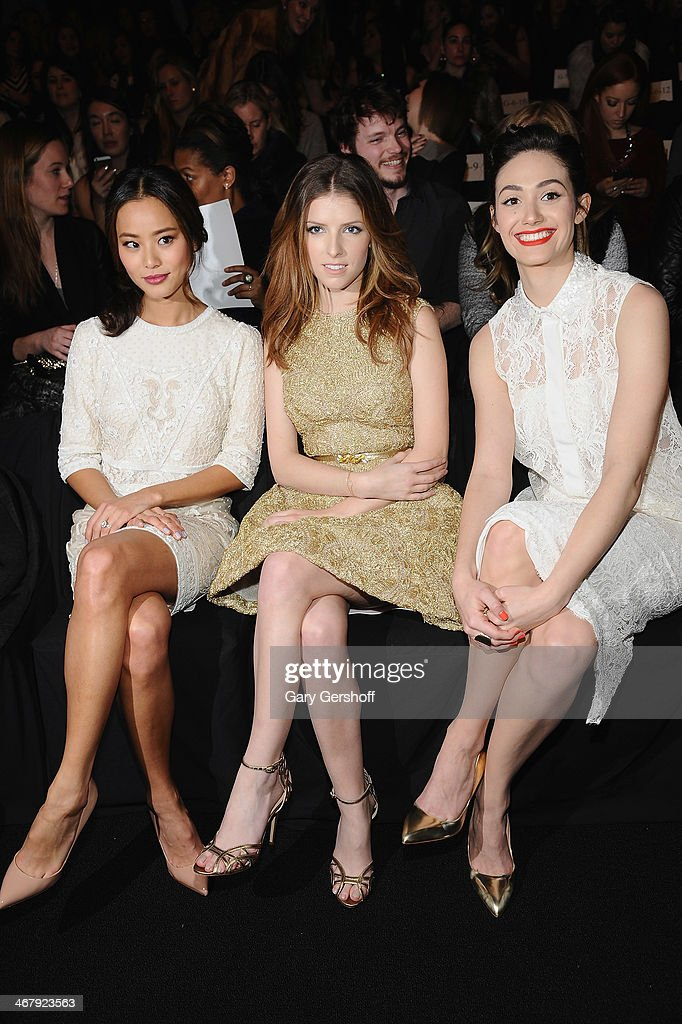 <a gi-track='captionPersonalityLinkClicked' href=/galleries/search?phrase=Jamie+Chung&family=editorial&specificpeople=4145549 ng-click='$event.stopPropagation()'>Jamie Chung</a>, <a gi-track='captionPersonalityLinkClicked' href=/galleries/search?phrase=Anna+Kendrick&family=editorial&specificpeople=3244893 ng-click='$event.stopPropagation()'>Anna Kendrick</a> and <a gi-track='captionPersonalityLinkClicked' href=/galleries/search?phrase=Emmy+Rossum&family=editorial&specificpeople=202563 ng-click='$event.stopPropagation()'>Emmy Rossum</a> attend the Monique Lhuillier show during Mercedes-Benz Fashion Week Fall 2014 at The Theatre at Lincoln Center on February 8, 2014 in New York City.