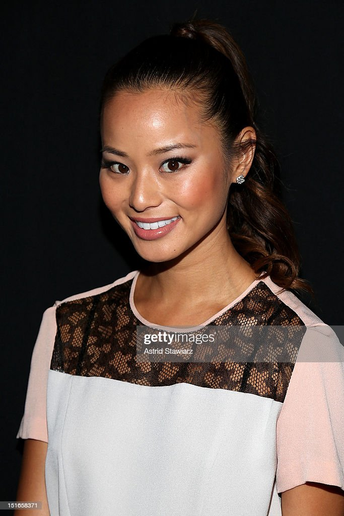 Jamie Chung poses backstage at the Diane Von Furstenberg Spring 2013 fashion show during Mercedes-Benz Fashion Week at The Theatre at Lincoln Center on September 9, 2012 in New York City.
