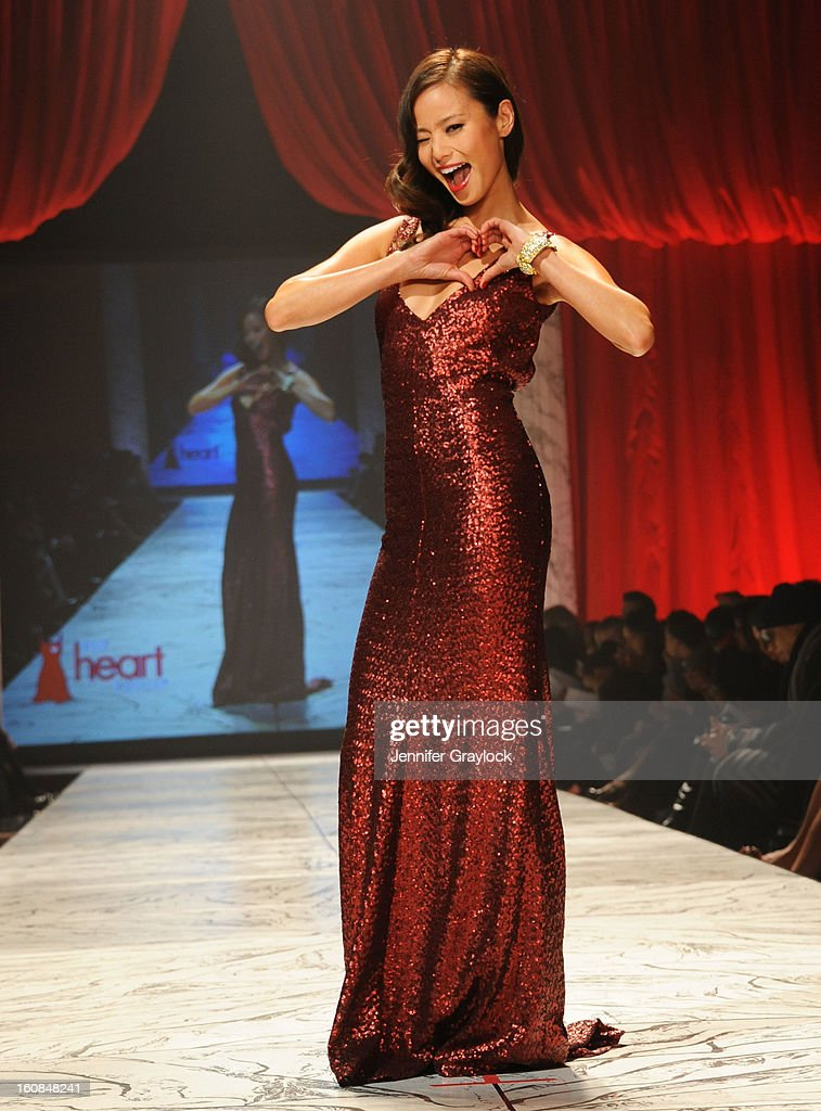 Jamie Chung wearing David Meister Signature on the runway during The Heart Truth 2013 Fashion Show held at the Hammerstein Ballroom on February 6, 2013 in New York City.
