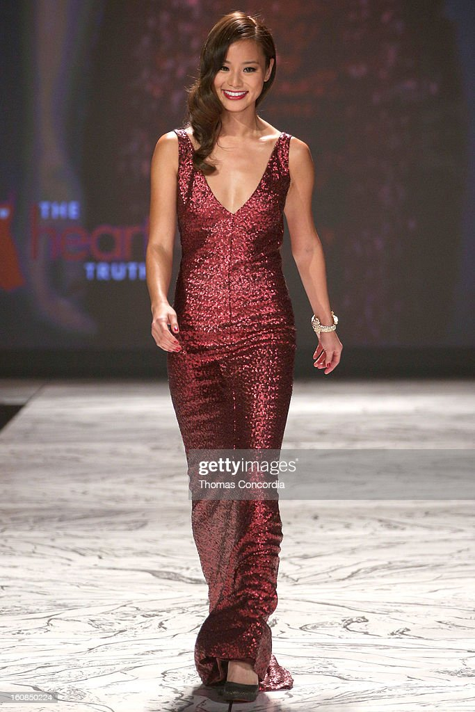 Jamie Chung wearing David Meister walks the runway at The Heart Truth's Red Dress Collection during Fall 2013 Mercedes-Benz Fashion Week at Hammerstein Ballroom on February 6, 2013 in New York City.