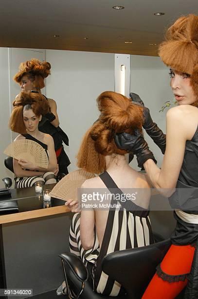 Jamie Clayton and Sophia Lamar attend Eiji Salon grand opening reception at Eiji Salon on February 1 2005 in New York City